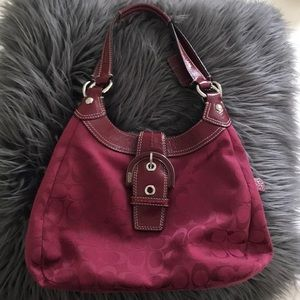 Red Shoulder Coach multi pocketed purse